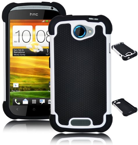 Bastex Double Layer Hard Hybrid Gel Case / Cover for HTC One S - Black & White