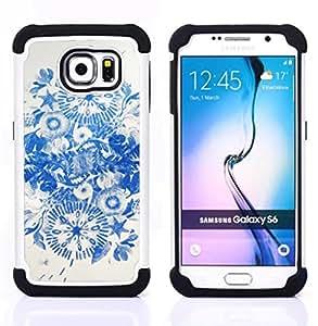"Hypernova Híbrido Heavy Duty armadura cubierta silicona prueba golpes Funda caso resistente Para Samsung Galaxy S6 / SM-G920 [Tinta azul Flores de China""]"