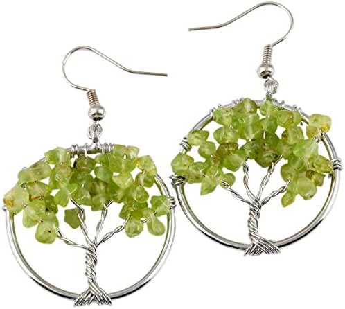 SUNYIK Tumbled Gemstone Tree of Life Dangle Earrings,Vintage Retro Jewelry for Women Girls