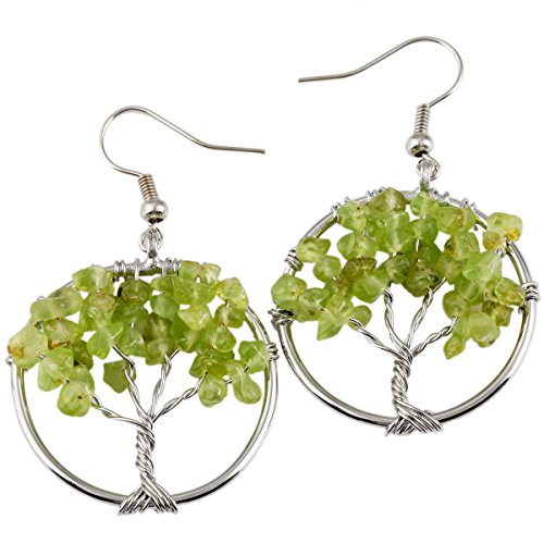 SUNYIK Peridot Tree of Life Dangle Earrings for Women(Silver Plated)