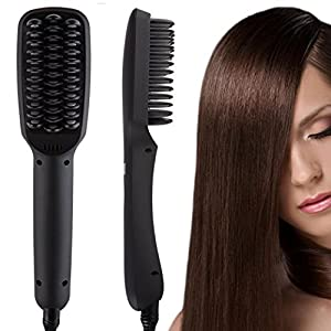 ShineMore Professional Ionic Hair Straightening Brush Anion Comb PTC Ceramic Hair Care Tool For Natural Curly Hair (Black)