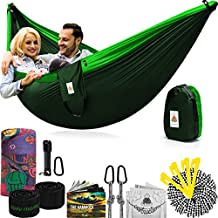 Lazy Monk Portable Camping Hammock Tent - 2 Person Hammocks with Tree Straps - BEST Double Parachute Gear