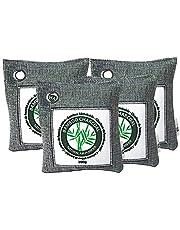 Stimio Duurzame Bamboe Kamerverfrisser 4 x 200g   Luchtreiniger, Verfrisser & Ontvochtiger met actieve kool kussens voor woonkamer, keuken, kelder, kantoor, gang, auto