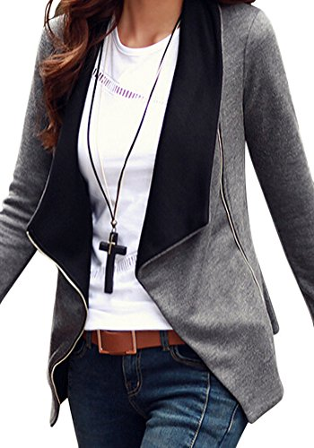 Grapent Women's Casual Asymmetric Side Zip Grey Contrast Pocket Blazer Jacket US 8