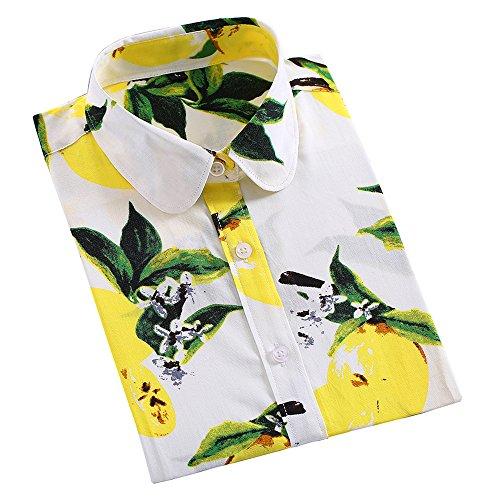 ショルダー飾り羽湖KINDOYOレディースラペルストライプ模様の長袖カジュアルルーズブラウストップTシャツ - スタイル2