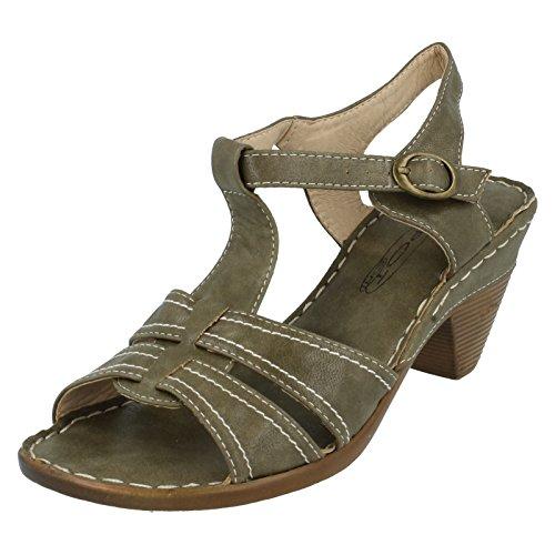 Spot On Damen Mid Heel Sandaletten Olivgrün