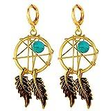U7 Women Earrings P18K Gold Plated Turquoise Decorate Indian Style Magic Webs Dream Catcher Dangle Earrings