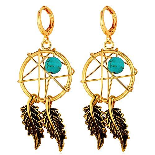 U7 Women Earrings P18K Gold Plated Turquoise Decorate Indian Style Magic Webs Dream Catcher Dangle -