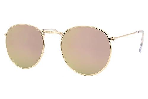 Cheapass Occhiali da Sole Rotondi d'Oro Marroni Specchiati Rosati-Ori UV-400 Retro Metallo Donne Uom...