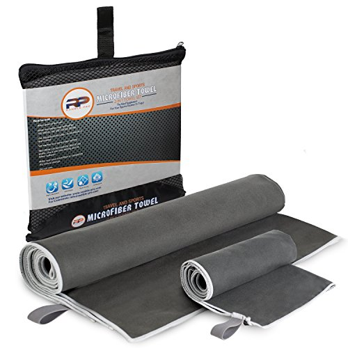 Ramble Pro Microfiber Travel Towel Lightweight Easy To Carry Highly Absorbent & Antibacterial Fast Drying Perfect For Your Sports & Workout Routine Hanging Loop Included Bonus Face Towel In The Pack!
