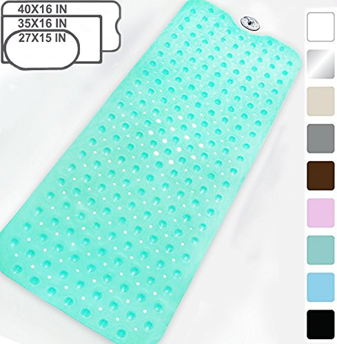 Yimobra Original Bath Tub Shower Mat Extra Long 16 x 40 inch,Anti Bacterial,Phthalate Free,Latex Machine Washable Large Materials,Clear Green(More Colors Size Choice)