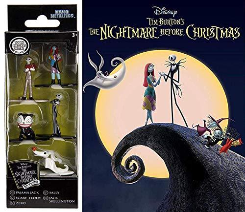NBX Nano Figures DVD Bundle: Nightmare Before Christmas Mini Metal Figs 5-Pack Jack Skellington & Tim Burton The Nightmare Before Christmas Animated Movie