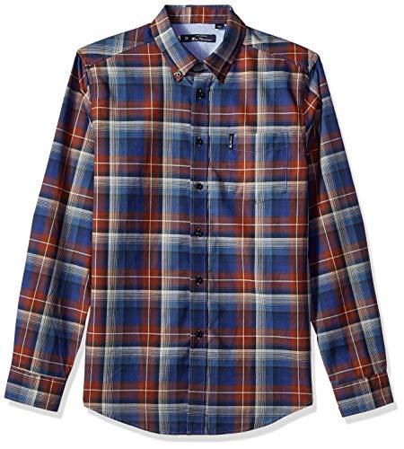 Ben Sherman Men's Ombre Check Shirt, Coffee, Large