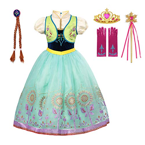 aibeiboutique Princess Anna Costume Halloween Cosplay Deluxe Dress Up for Girls (Green, 2-3 Years) -