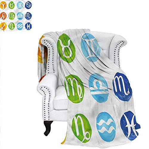 """RenteriaDecor Zodiac Super Soft Blanket Twelve Houses Libra Virgo Velvet Plush Throw Blanket 70""""x50"""""""
