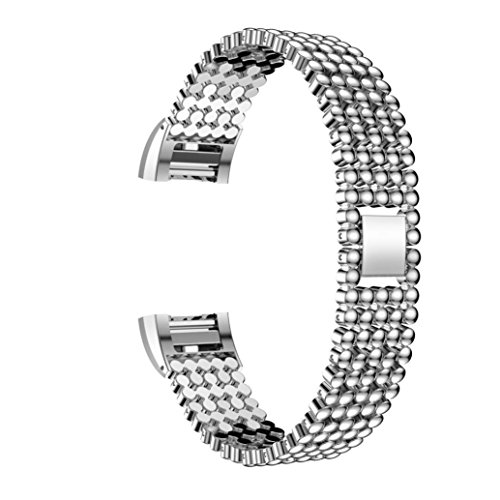 Replacement Strap Band Odeer Alloy Steel Bead Style Bracelet Smart Watch Band Strap For Fitbit Charge 2 (Band Length:140mm) (Silver Alloy Link Magnetic Bracelet)