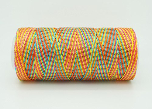 VARIEGATED FIESTA 0.6mm 100% Nylon Twisted Cord Thread Micro Macrame Beading Knitting Crochet Needle Crafts (300yards Tube)