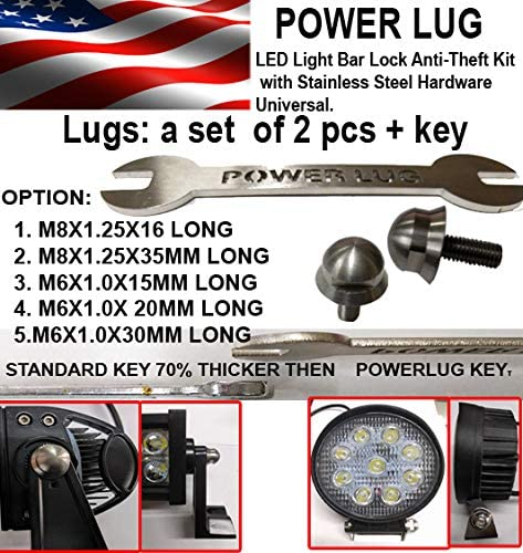 smd Stainless Steel M8x16mm Anti Theft Screw Bolts w//Locking Key for LED Light Bar LED Worklight Driving Fog Lamp LED Pod Light