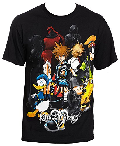 Kingdom Hearts Men's Hearts Group Slim-Fit T-Shirt XL (Kingdom Hearts Mad Engine)
