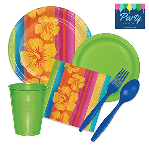 Luau Party Supplies Kit - Tableware for 24 Guests includes Dinner Plates, Dessert Plates, Napkins, Cups, Cutlery