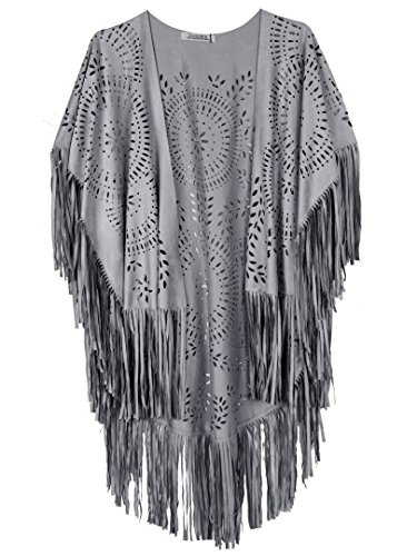 - PERSUN Women's Suede Kimono Laser Cut Out Asymmetric Fringed Summer Cover up Cape (Grey)