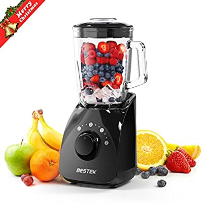Smoothie Blender, BESTEK 350W Countertop Blender Food Processor with 1.5L Glass Jar for Smoothie Making, Food Grinding and Mixing