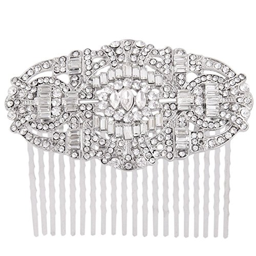 Vintage Art Deco Bridal Hair Comb Clear Austrian Crystal