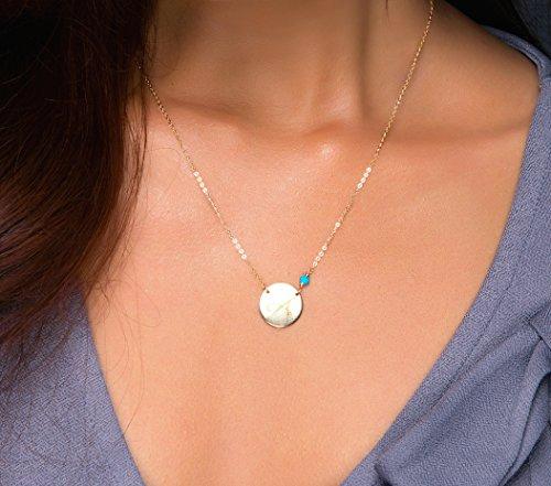 Personalized Large Initial Disc Necklace and Birthstone, Customized Silver Monogram Pendant Disk Jewelry, Rose Gold Charm Necklace, 14K Gold fill (Jewelry Initial Necklace)