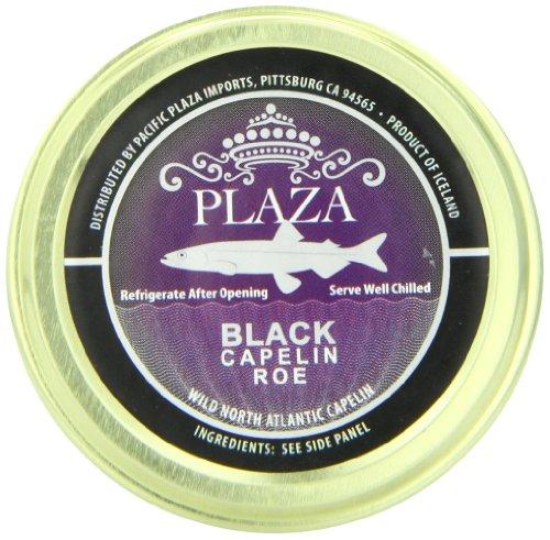 Plaza Premium Amazon Quality Capelin Caviar, Black, 1.76 Ounce - Black Capelin Caviar