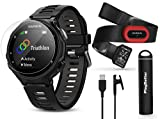 Garmin Forerunner 735XT (Black/Gray, Run-Bundle) Power Bundle | Includes HRM-Run Chest Strap, HD Glass Screen Protectors (x2) & PlayBetter Portable Charger | Multisport GPS Running Watch