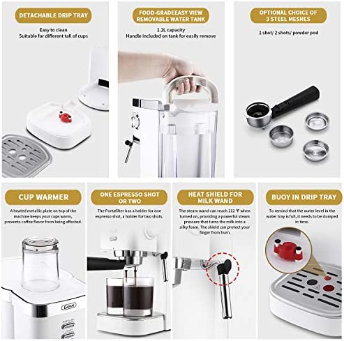 Espresso Machines Fast Heating Cappuccino Machine 20 Bar with Milk Frother for Espresso, Latte and Mocha, for Home Barista, 1.2 L Water Tank, Double Temperature Control System, White, 1350W, Plastic (Plastic)