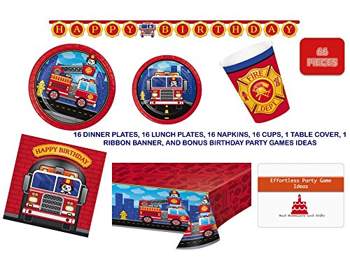 (Firetruck Birthday Party Supplies Set for 16 guests - Complete Tableware and Decorations Kit Firefighter Party Supplies Including Happy Birthday Banner for the birthday girl or)
