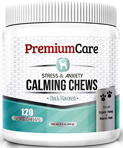 PremiumCare Calming Treats for Dogs | Hemp Oil Infused Soft Chews for Dog Anxiety Relief | Aids Stress, Anxiety, Storms, Barking, Separation and More | 120 Count Dog Calming Treats by PremiumCare