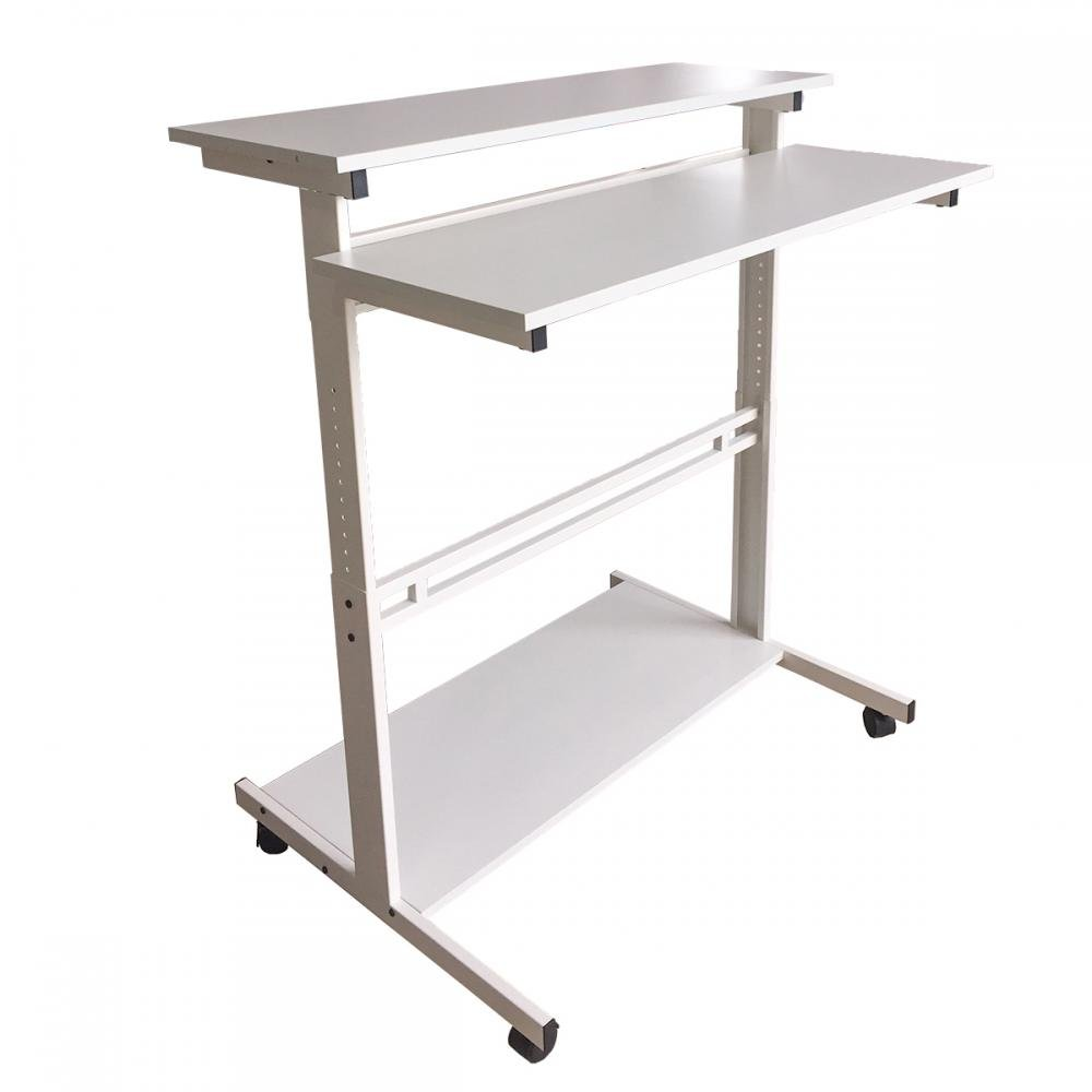 New White Home Office Adjustable Standing Desk Workstation w/Casters Tray