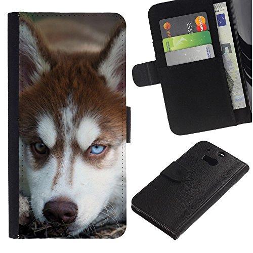 EuroCase - HTC One M8 - Alaskan malamute Siberian husky dog - Cuero PU Delgado caso cubierta Shell Armor Funda Case Cover