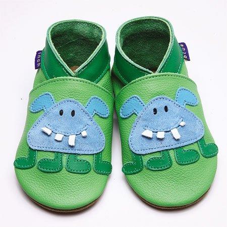 Inch Blue - 1784 S - Chaussures Bébé Souples - Little Monster - Vert - T 17-18 cm