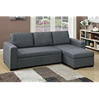 Advanced Modern Blue Grey Convertible Linen-Like Fabric Sectional Sofa Set with Pull-Out Bed