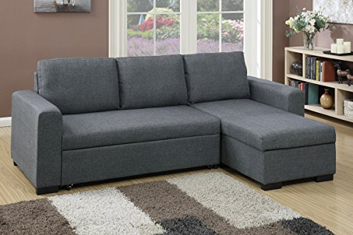 Advanced Modern Blue Grey Convertible Linen-Like Fabric Sectional Sofa Set with Pull-Out Bed by Advanced Furniture