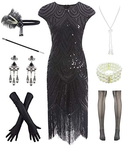 Letter Love Women 1920s Vintage Flapper Fringe Beaded Gatsby Party Dress with 20s Accessories Set Black, Medium -
