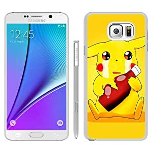 Samsung Galaxy Note5 Case,Personalized Pokemon Popular Cute and Funny Pikachu 13 White Samsung Galaxy Note5 Case Cocer