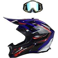 WZJN Casque de Moto Moto int/égral /Écharpe chauffante pour la Route Casque de Course Automobile,Bleu