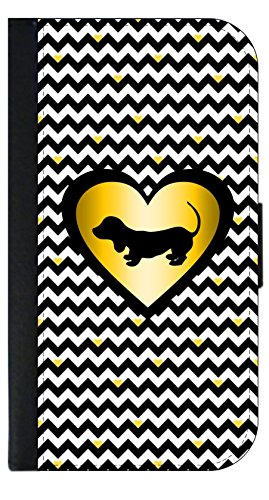 Dachshund Silhouette - Gold Heart on Black and White Chevrons - TM Wallet Style Phone Case Compatible with the Standard Apple iPhone 7/ Apple iPhone 8 - Universal