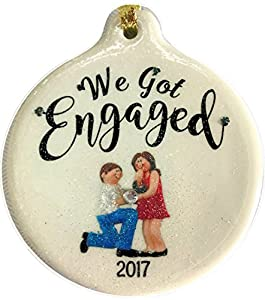 Amazoncom We Got Engaged 2017 Dated Porcelain Ornament Proposal