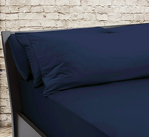 SHEEX – Original Performance Fitted Sheet, 1 (One) Fitted Sheet ONLY, Ultra-Soft Fabric Transfers Body Heat and Breathes Better Than Traditional Cotton, Navy (Queen)