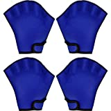 Hsei 2 Pairs Webbed Swimming Gloves Aquatic Fitness Gloves Water Resistance Swim Diving Gloves for Swimming Training Exercise, Average Size (Blue)