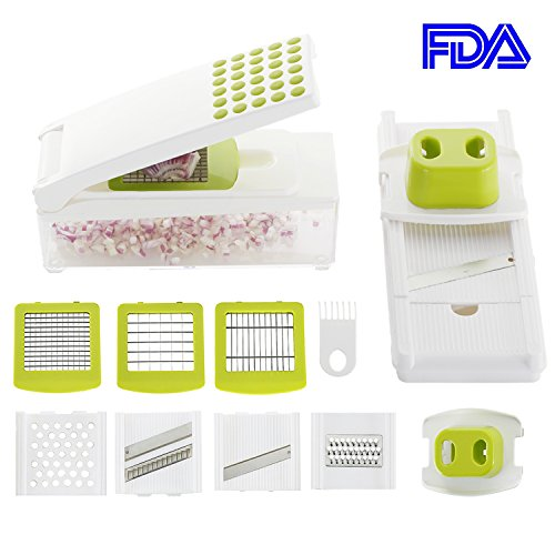 Smile mom Vegetable Slicer Dicer, Onion Chopper, 7 in 1 Manual Grater Cutter Set for Potato Cucumber Carrot, with Hand Protector, 7 Interchangeable Blades & Cleaning Tool, B428-A,Green-White Green Vegetable Cutter