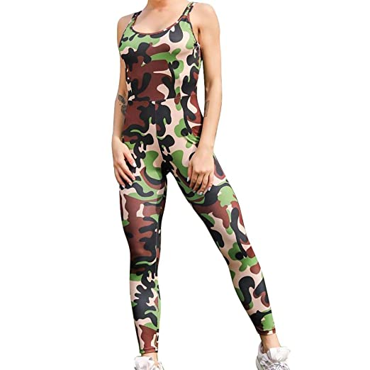Amazon.com: Womens Yoga Camouflage Jumpsuit Printed Slim ...