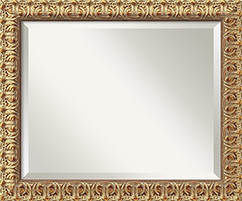 Amanti Art Framed Florentine Gold Solid Wood Wall Mirrors, Glass Size 16x20, - Florentine Pattern