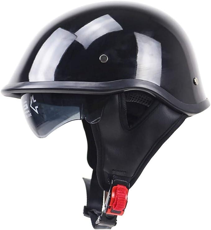 55-61 cm Jet Vintage Casco Moto,Cuero Lentes antivaho Windproof Sandproof para Adultos Mujer y Hombre Retro Scooter Motocicleta Helmet Chopper Cruiser ECE//Dot Certificacion