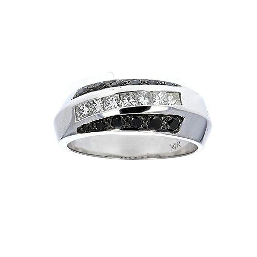 Anillos de boda,, 14 Kt blanco oro Mens Diamond & Negro Diamantes Boda Anillo